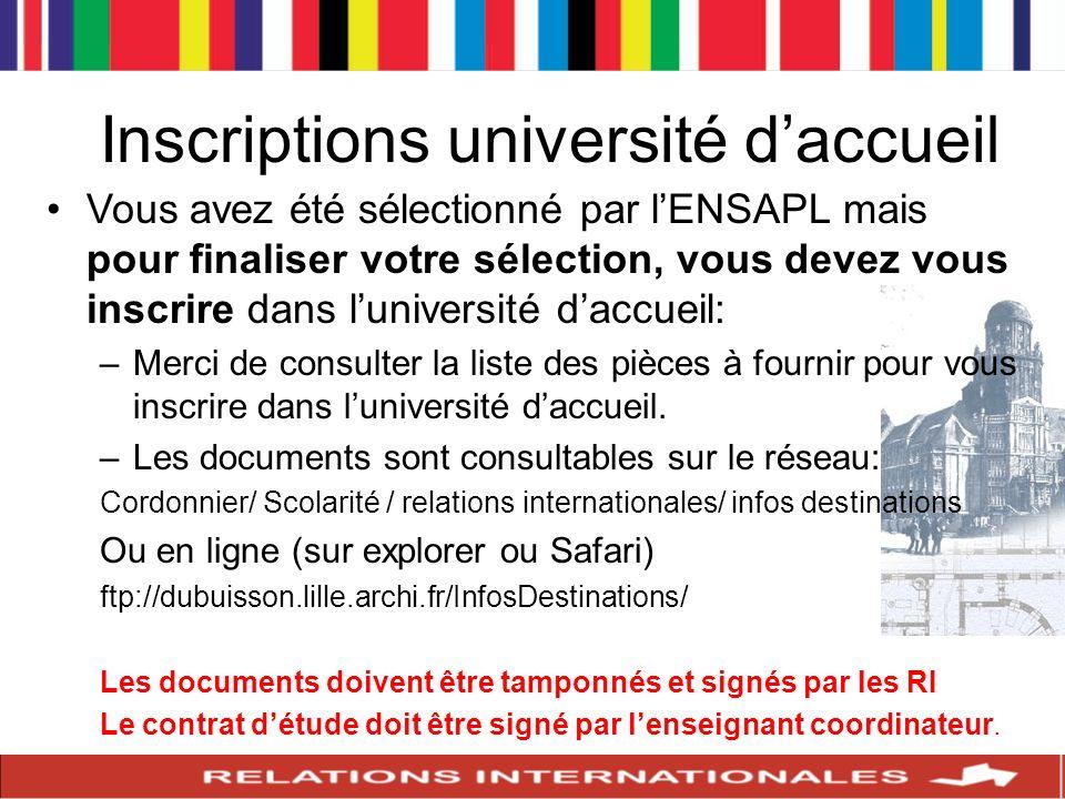 Inscriptions université daccueil Vous avez été sélectionné par lENSAPL mais pour finaliser votre sélection, vous devez vous inscrire dans luniversité