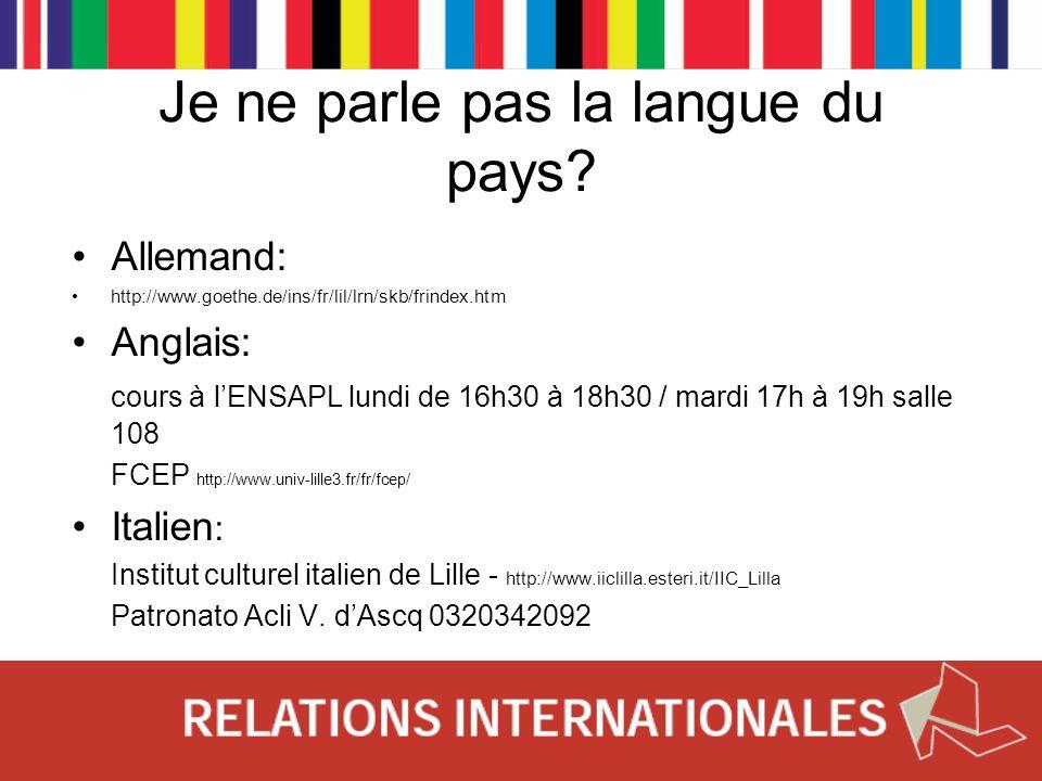 Je ne parle pas la langue du pays? Allemand: http://www.goethe.de/ins/fr/lil/lrn/skb/frindex.htm Anglais: cours à lENSAPL lundi de 16h30 à 18h30 / mar