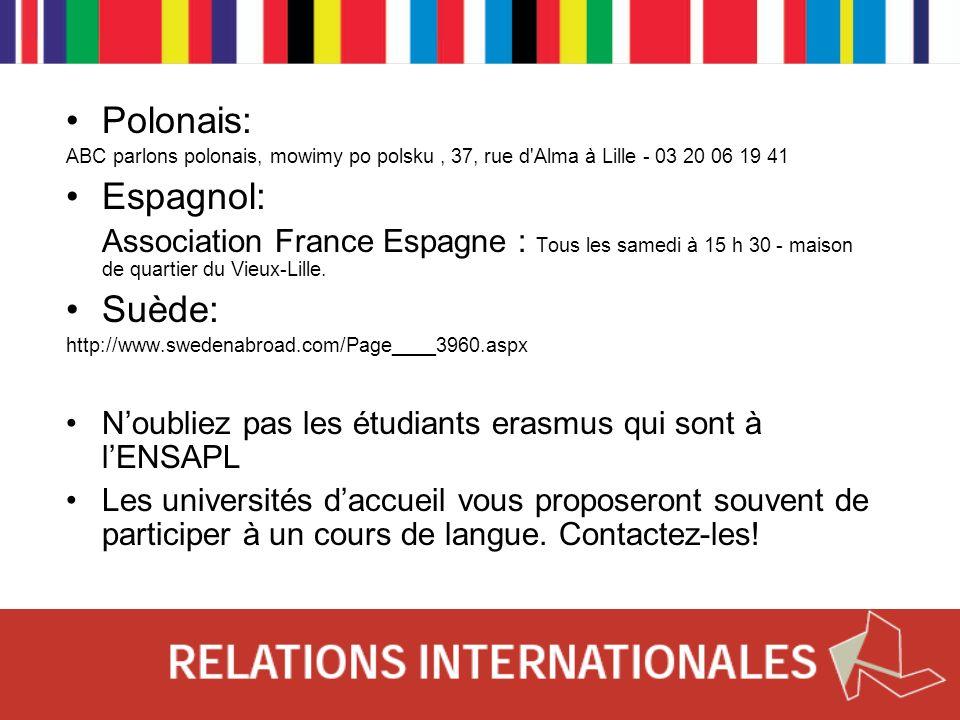 Polonais: ABC parlons polonais, mowimy po polsku, 37, rue d'Alma à Lille - 03 20 06 19 41 Espagnol: Association France Espagne : Tous les samedi à 15