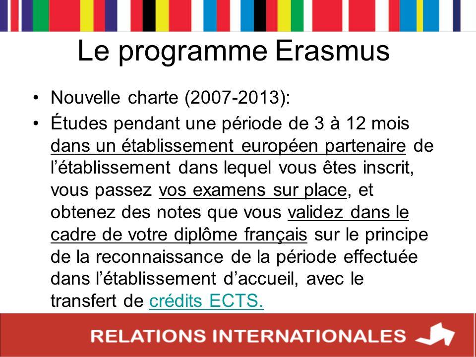 Le programme Erasmus Nouvelle charte (2007-2013): Études pendant une période de 3 à 12 mois dans un établissement européen partenaire de létablissemen