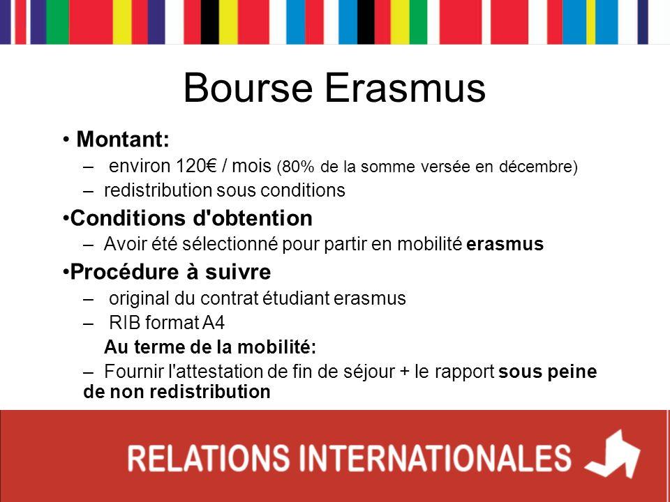 Bourse Erasmus Montant: – environ 120 / mois (80% de la somme versée en décembre) –redistribution sous conditions Conditions d'obtention –Avoir été sé