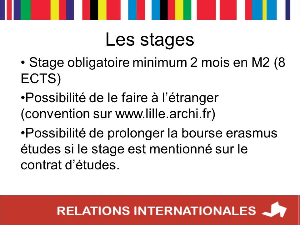 Les stages Stage obligatoire minimum 2 mois en M2 (8 ECTS) Possibilité de le faire à létranger (convention sur www.lille.archi.fr) Possibilité de prol
