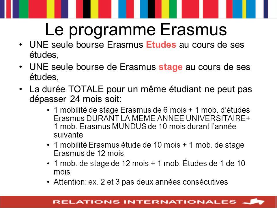 Le programme Erasmus UNE seule bourse Erasmus Etudes au cours de ses études, UNE seule bourse de Erasmus stage au cours de ses études, La durée TOTALE