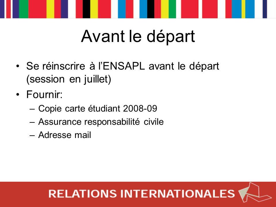 Avant le départ Se réinscrire à lENSAPL avant le départ (session en juillet) Fournir: –Copie carte étudiant 2008-09 –Assurance responsabilité civile –