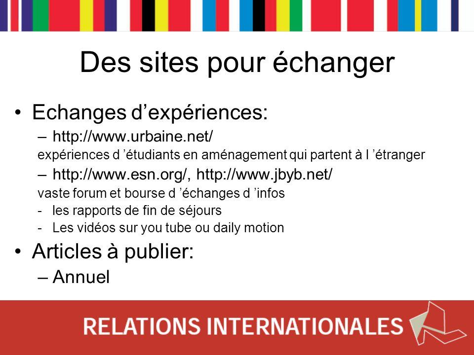 Des sites pour échanger Echanges dexpériences: –http://www.urbaine.net/ expériences d étudiants en aménagement qui partent à l étranger –http://www.es