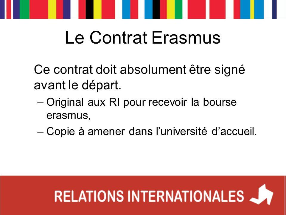 Ce contrat doit absolument être signé avant le départ. –Original aux RI pour recevoir la bourse erasmus, –Copie à amener dans luniversité daccueil.