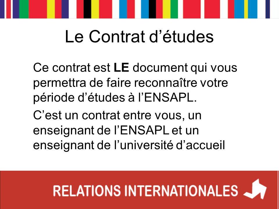 Le Contrat détudes Ce contrat est LE document qui vous permettra de faire reconnaître votre période détudes à lENSAPL. Cest un contrat entre vous, un