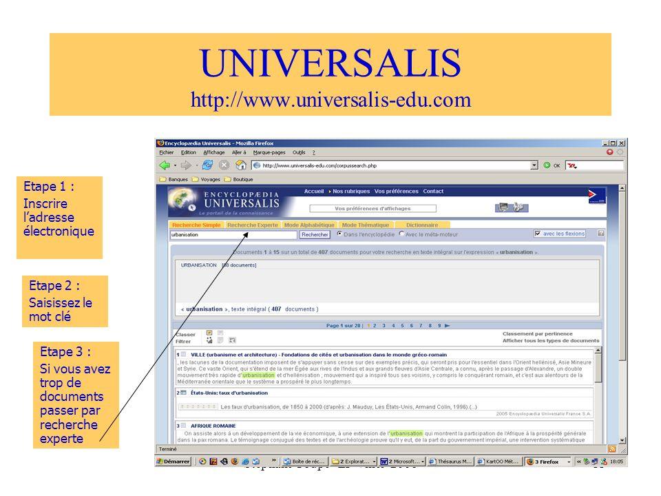 Stéphane Coupé - LP Vinci 200811 UNIVERSALIS http://www.universalis-edu.com Etape 1 : Inscrire ladresse électronique Etape 2 : Saisissez le mot clé Et