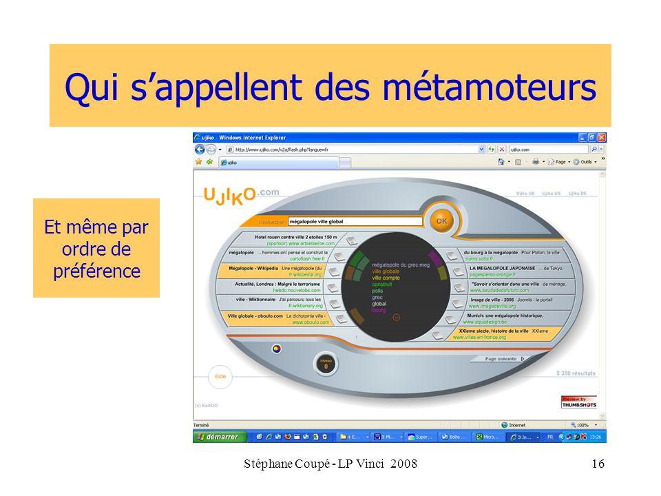 Stéphane Coupé - LP Vinci 200816 Qui sappellent des métamoteurs Et même par ordre de préférence