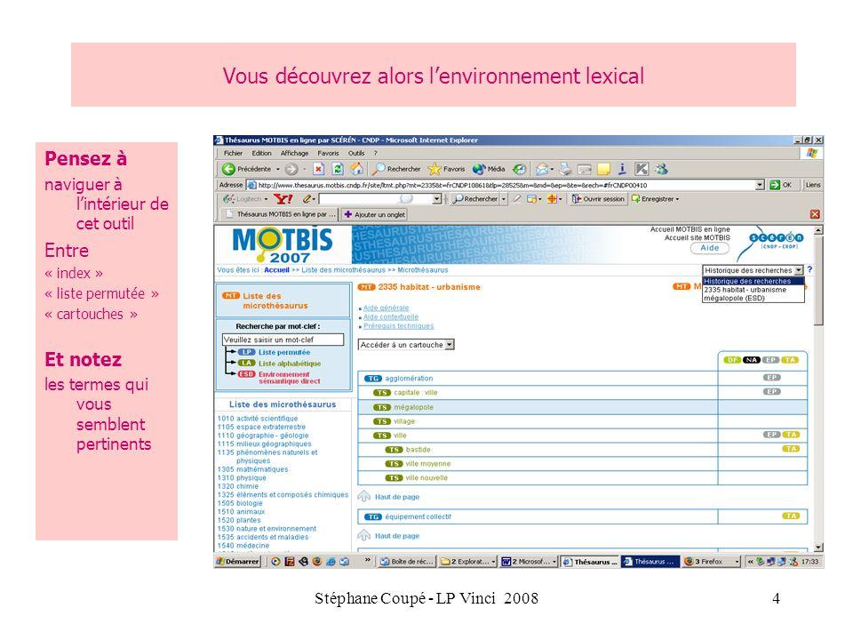 Stéphane Coupé - LP Vinci 20085 Exemple dun écran de recherche Consulter le thesaurus pour trouver le mot clé descripteur = Clic droit « parcourir le thesaurus » Consulter la liste pour trouver le titre lauteur Etc.