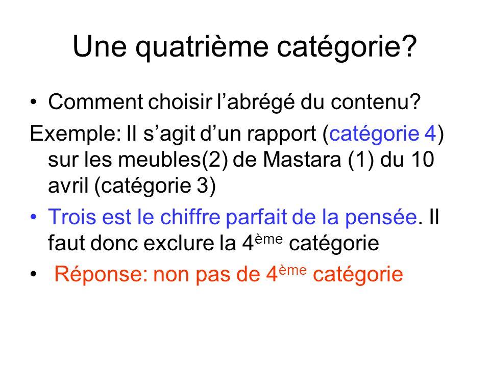 Astuce Il suffit dinclure la 4 ème catégorie dans le sujet (1) ou dans le contenu (2) Exemple: « Mas_rapm_10av » Contenu: le rapport sur les meubles de Mastara.