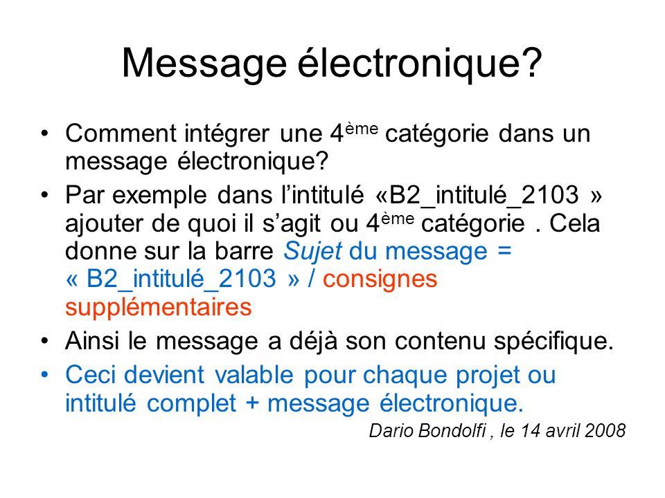 Message électronique? Comment intégrer une 4 ème catégorie dans un message électronique? Par exemple dans lintitulé «B2_intitulé_2103 » ajouter de quo