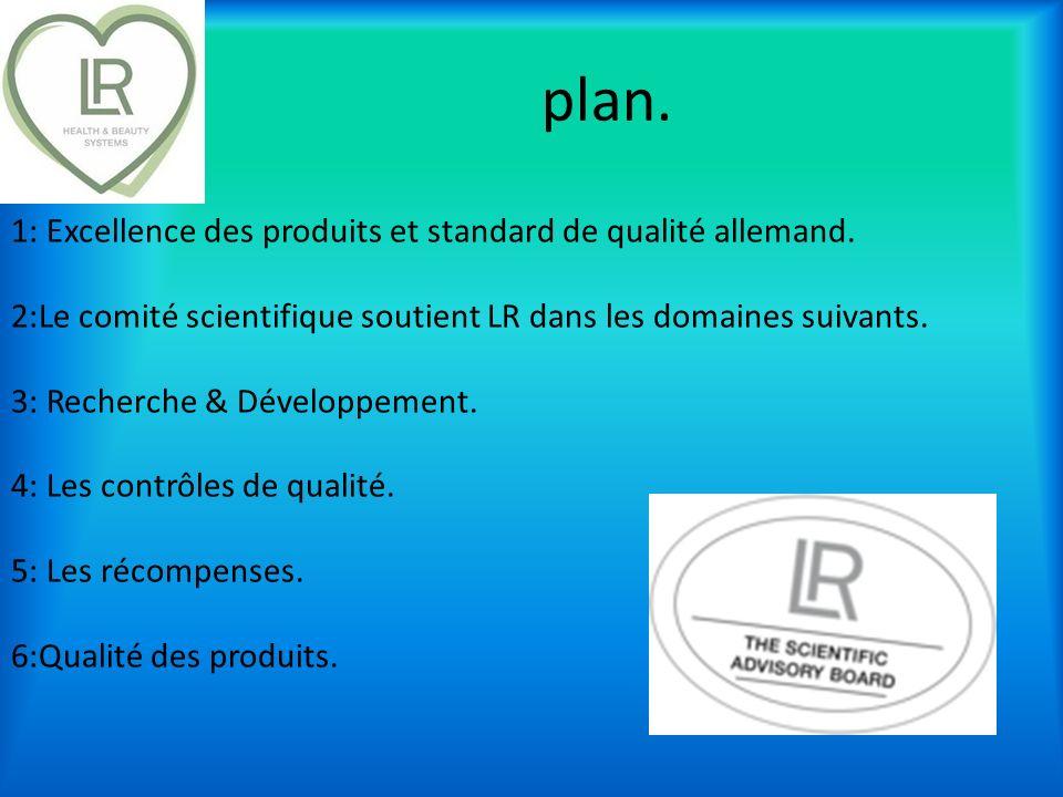plan. 1: Excellence des produits et standard de qualité allemand. 2:Le comité scientifique soutient LR dans les domaines suivants. 3: Recherche & Déve