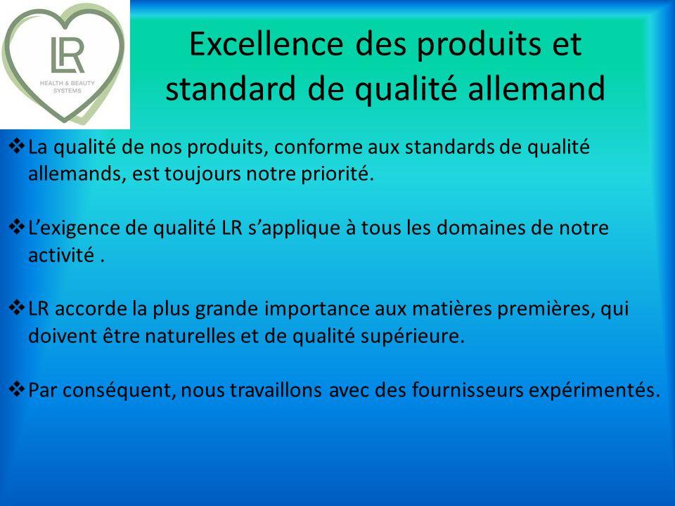Excellence des produits et standard de qualité allemand La qualité de nos produits, conforme aux standards de qualité allemands, est toujours notre pr