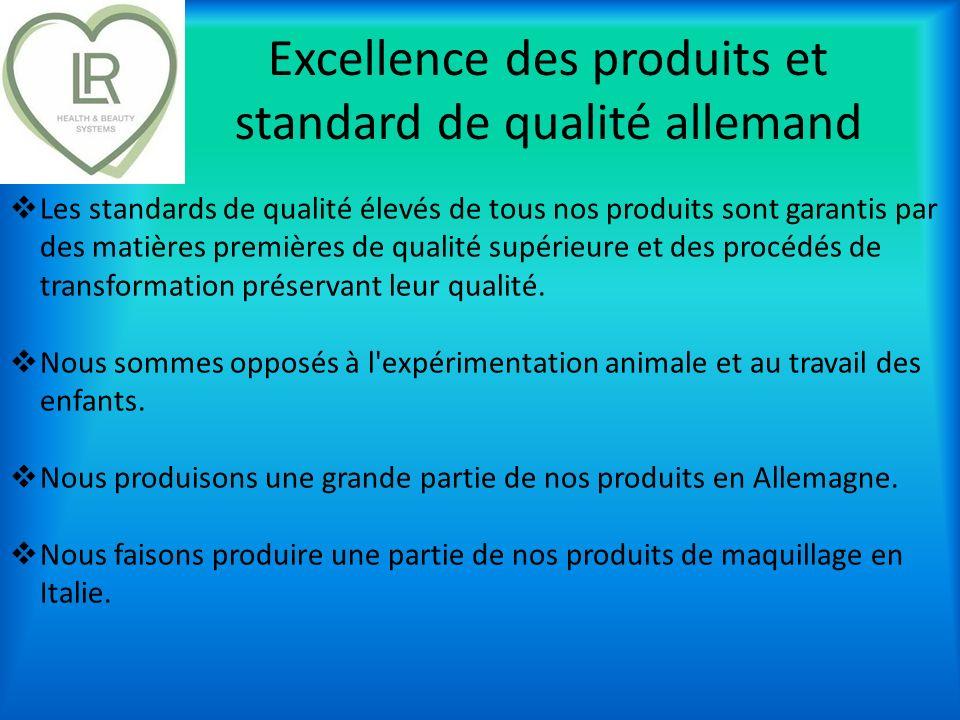 Excellence des produits et standard de qualité allemand Les standards de qualité élevés de tous nos produits sont garantis par des matières premières