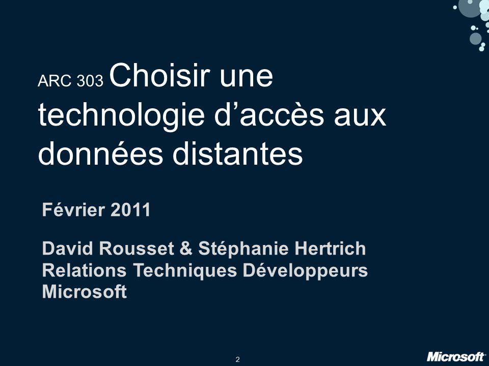 2 ARC 303 Choisir une technologie daccès aux données distantes Février 2011 David Rousset & Stéphanie Hertrich Relations Techniques Développeurs Microsoft