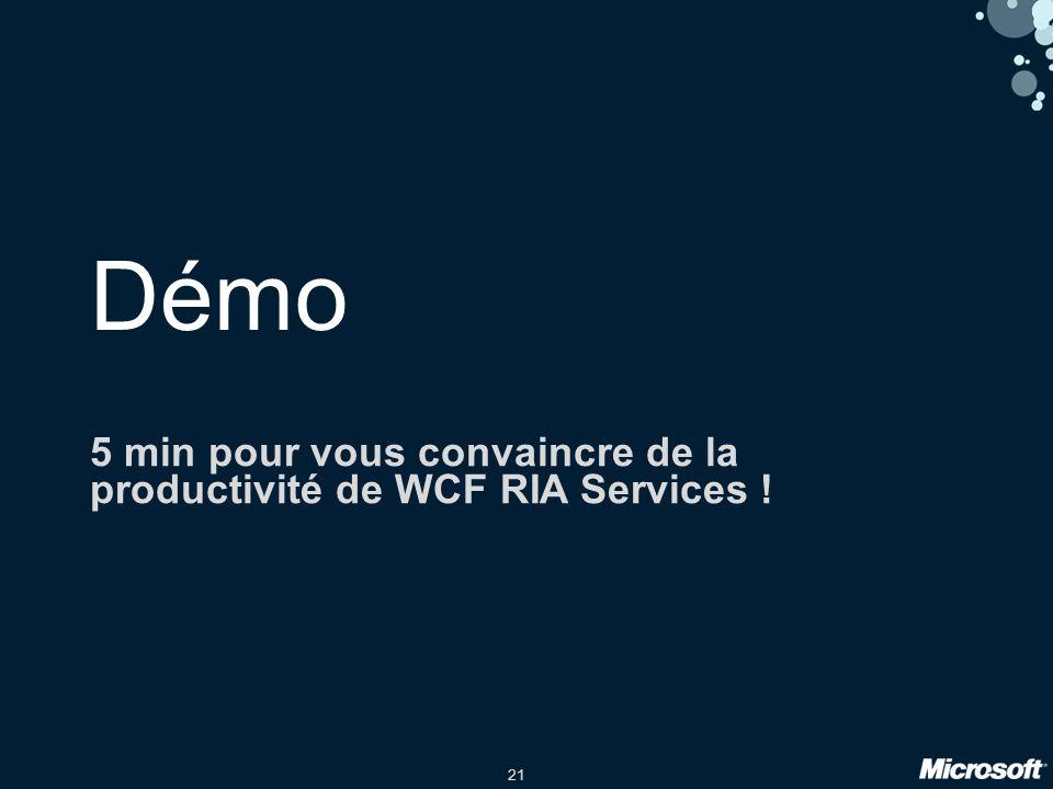 21 Démo 5 min pour vous convaincre de la productivité de WCF RIA Services !