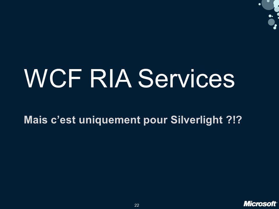 22 WCF RIA Services Mais cest uniquement pour Silverlight !
