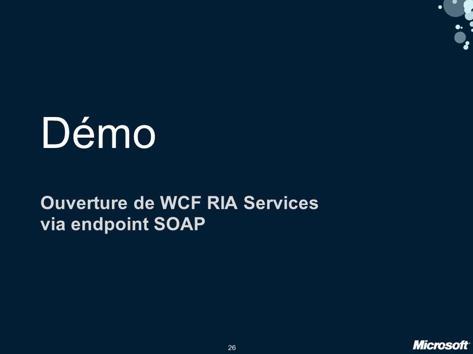 26 Démo Ouverture de WCF RIA Services via endpoint SOAP