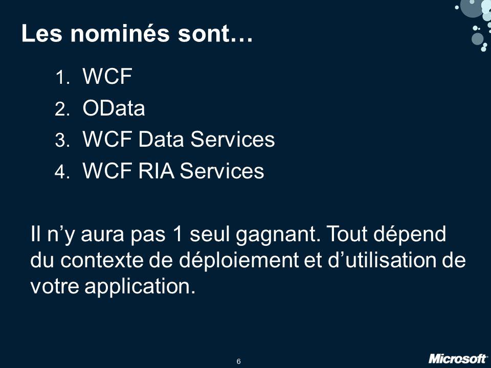 6 Les nominés sont… 1. WCF 2. OData 3. WCF Data Services 4.