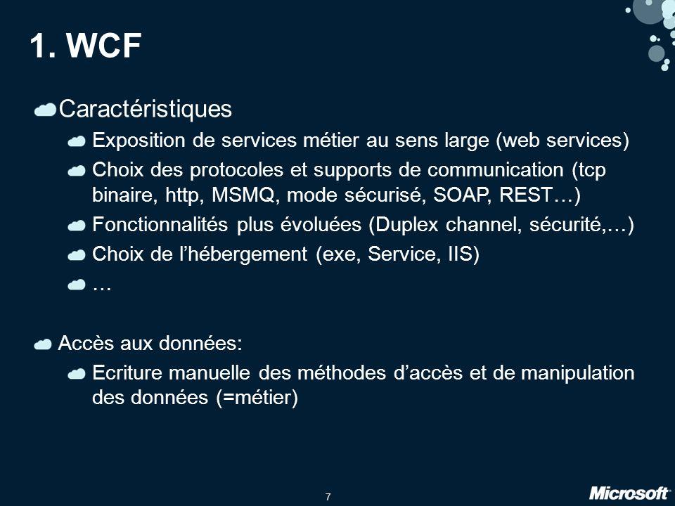 7 1. WCF Caractéristiques Exposition de services métier au sens large (web services) Choix des protocoles et supports de communication (tcp binaire, h