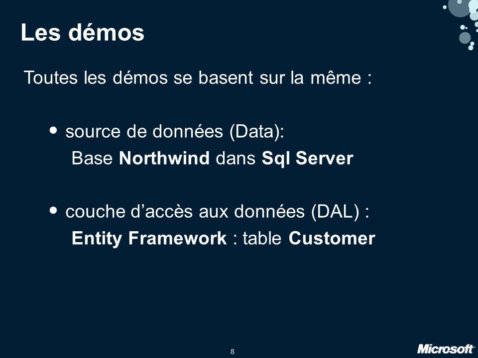 19 Data DAL WP7Silverlight.Net Html 5, Objective-C, Java, … LAN, WAN, … Avec WCF Data Services WCF Data Services http REST Proxy + LINQ Génération des méthodes daccès aux données SDKs clients