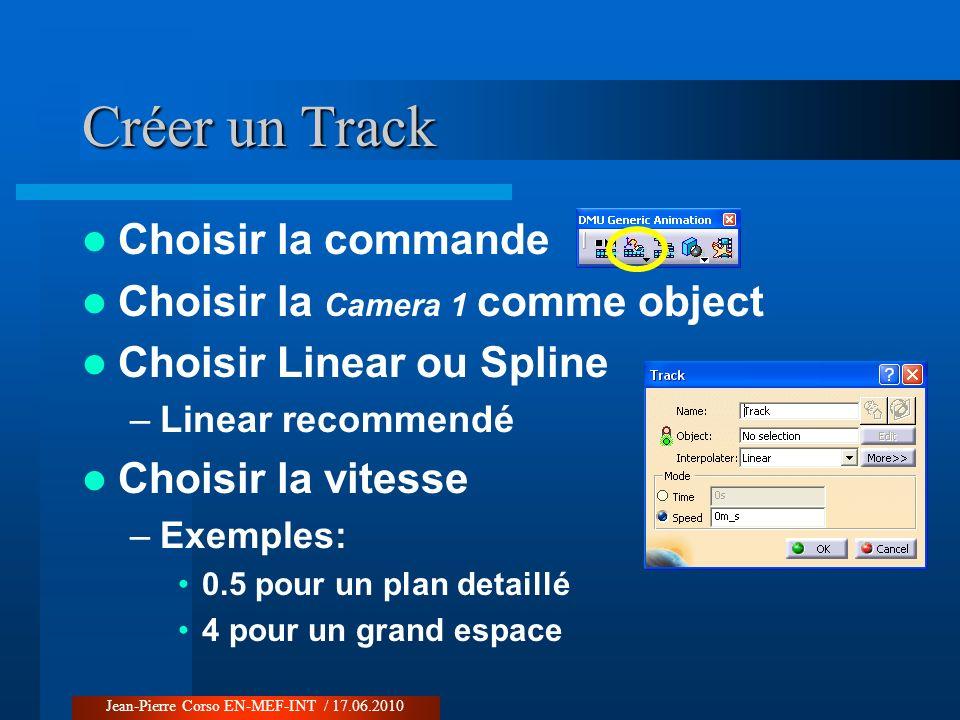 Créer un Track Choisir la commande Choisir la Camera 1 comme object Choisir Linear ou Spline –Linear recommendé Choisir la vitesse –Exemples: 0.5 pour