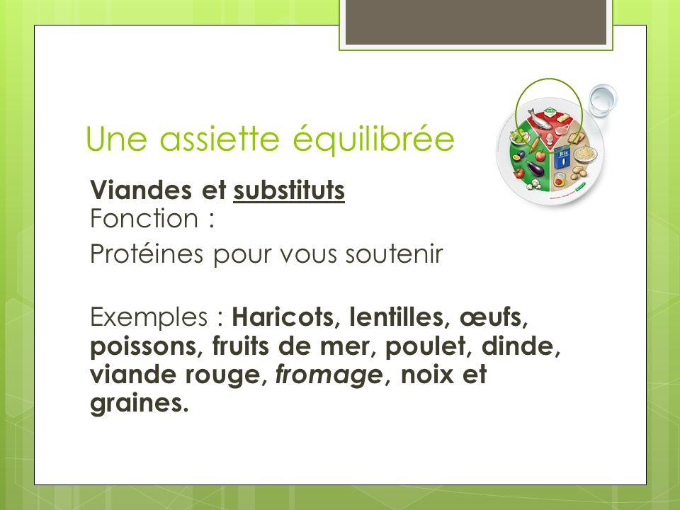 Une assiette équilibrée Viandes et substituts Fonction : Protéines pour vous soutenir Exemples : Haricots, lentilles, œufs, poissons, fruits de mer, p