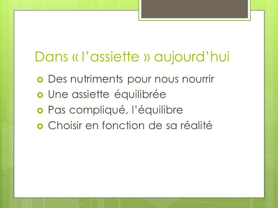 Dans « lassiette » aujourdhui Des nutriments pour nous nourrir Une assiette équilibrée Pas compliqué, léquilibre Choisir en fonction de sa réalité