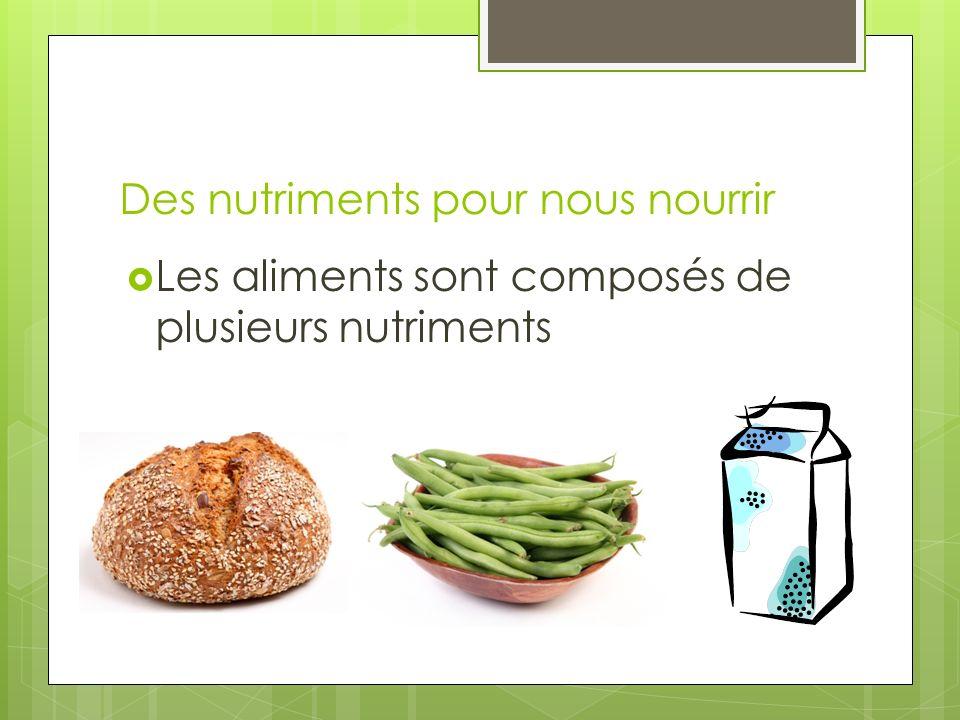 Des nutriments pour nous nourrir Les aliments sont composés de plusieurs nutriments