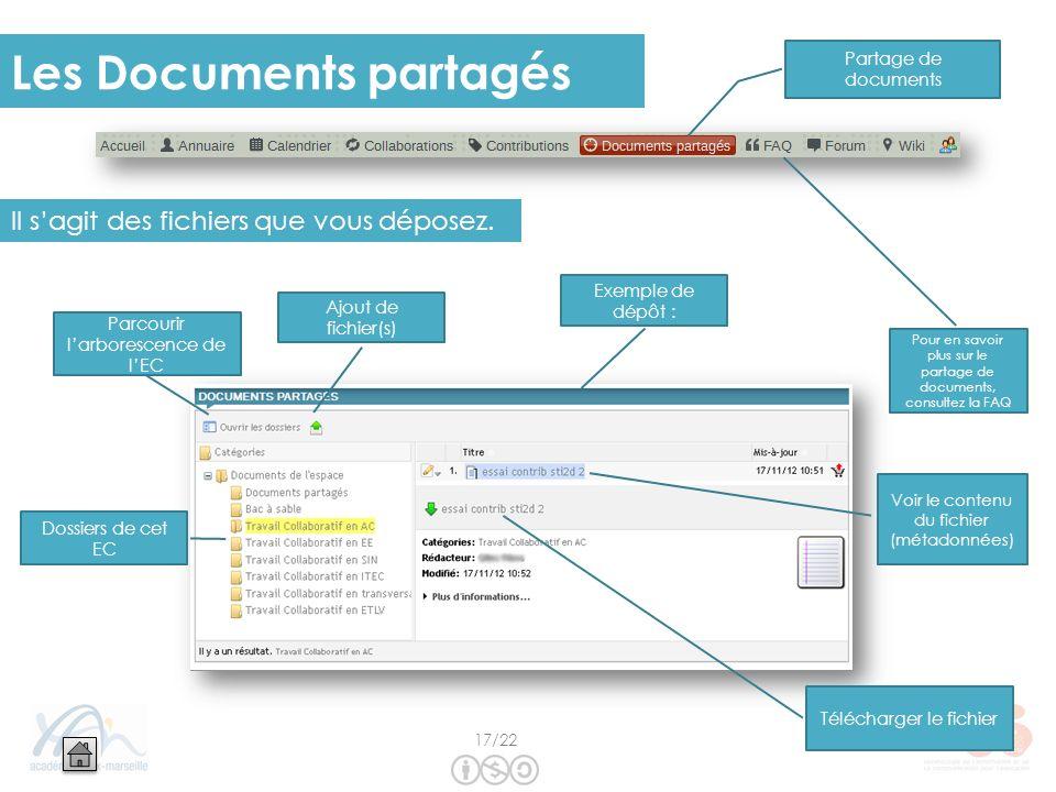 Les Documents partagés Il sagit des fichiers que vous déposez. Ajout de fichier(s) Dossiers de cet EC Voir le contenu du fichier (métadonnées) Parcour