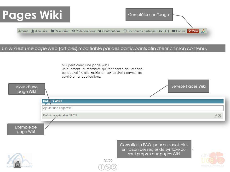 Pages Wiki Un wiki est une page web (articles) modifiable par des participants afin denrichir son contenu. Ajout dune page Wiki Exemple de page Wiki S