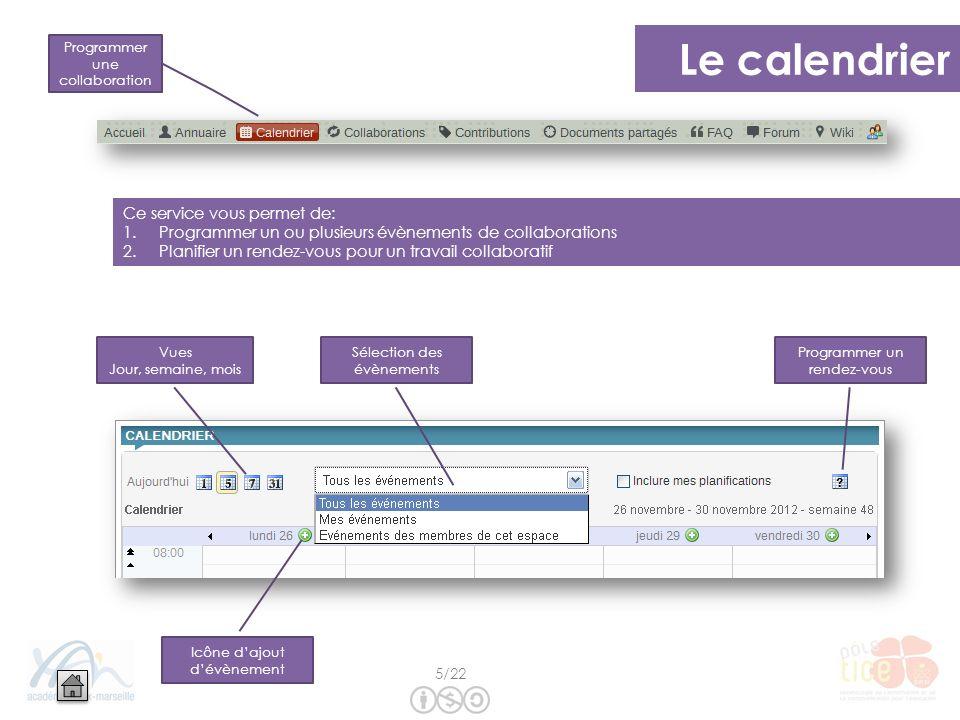 Le calendrier Ce service vous permet de: 1.Programmer un ou plusieurs évènements de collaborations 2.Planifier un rendez-vous pour un travail collabor