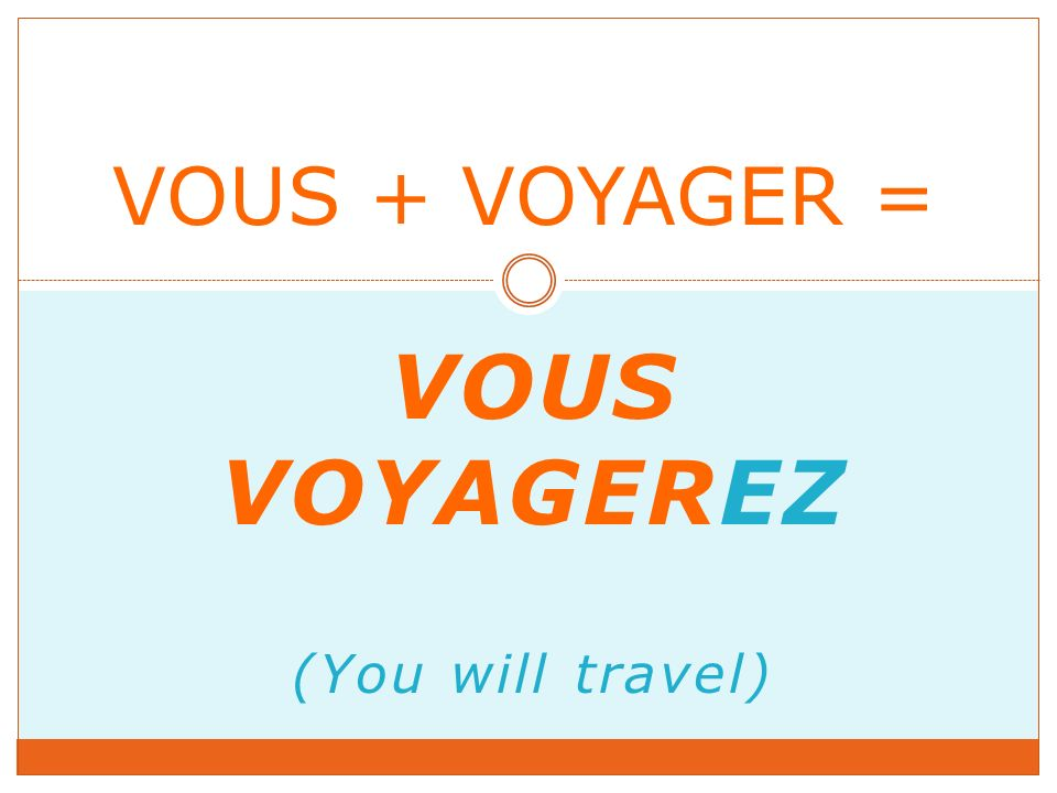 VOUS VOYAGEREZ (You will travel) VOUS + VOYAGER =
