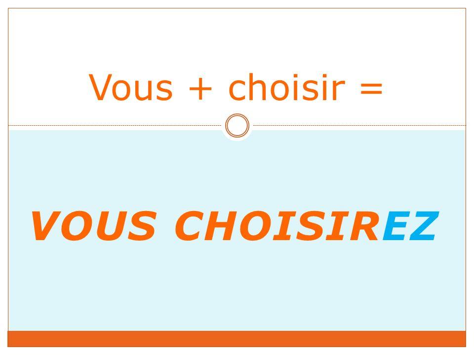 VOUS CHOISIREZ Vous + choisir =