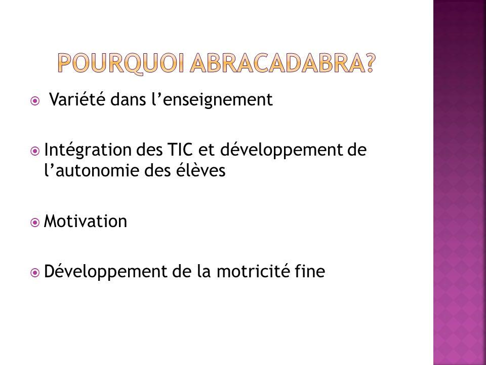 Variété dans lenseignement Intégration des TIC et développement de lautonomie des élèves Motivation Développement de la motricité fine