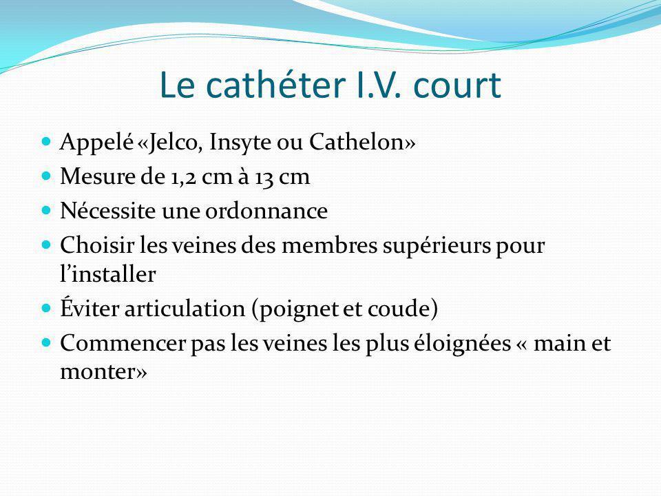 Le cathéter I.V. court Appelé «Jelco, Insyte ou Cathelon» Mesure de 1,2 cm à 13 cm Nécessite une ordonnance Choisir les veines des membres supérieurs