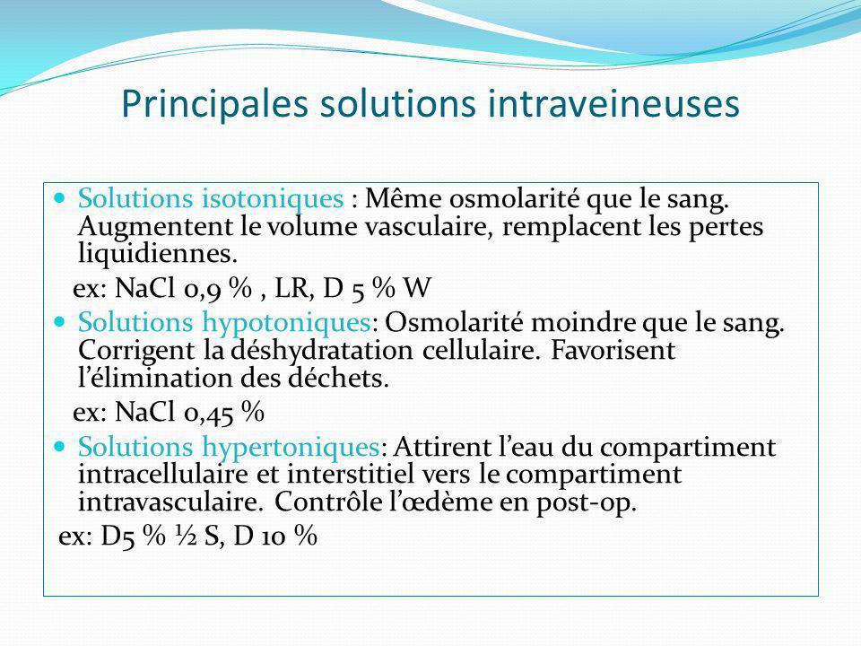 Principales solutions intraveineuses Solutions isotoniques : Même osmolarité que le sang. Augmentent le volume vasculaire, remplacent les pertes liqui