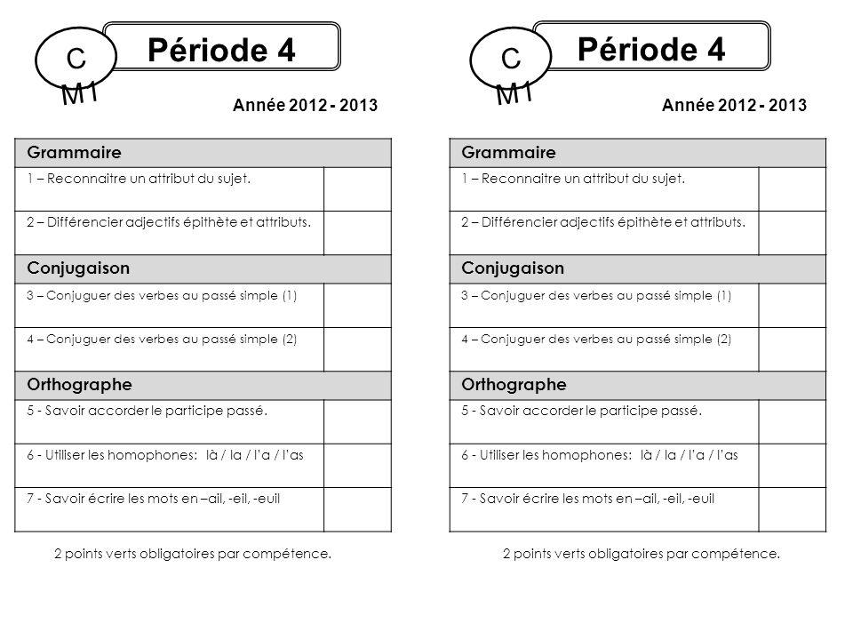 Période 4 C M1 Année 2012 - 2013 Période 4 C M1 Année 2012 - 2013 2 points verts obligatoires par compétence. Grammaire 1 – Reconnaitre un attribut du