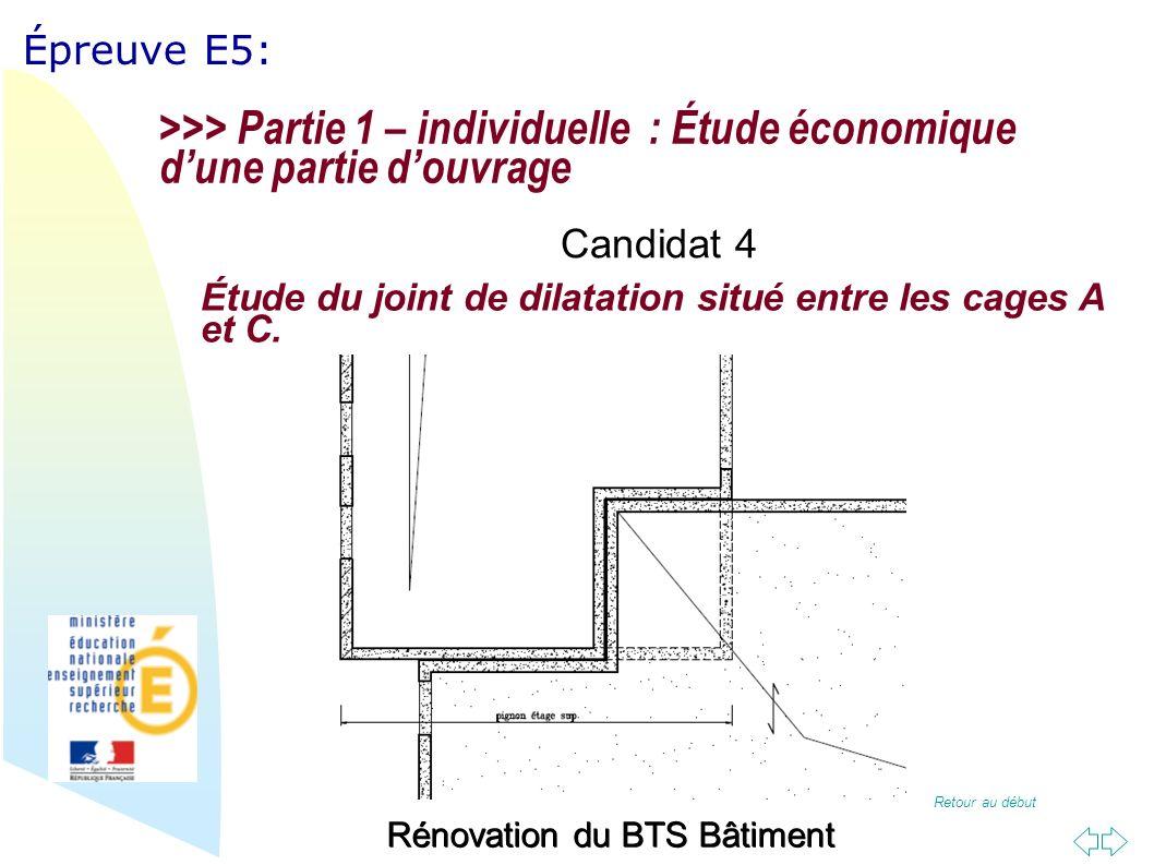 Retour au début Épreuve E5: Rénovation du BTS Bâtiment Étude du joint de dilatation situé entre les cages A et C.