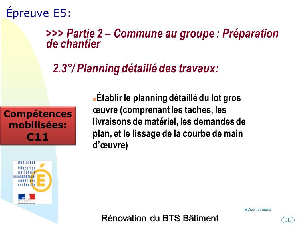 Retour au début Épreuve E5: Rénovation du BTS Bâtiment 2.3°/ Planning détaillé des travaux: Établir le planning détaillé du lot gros œuvre (comprenant les taches, les livraisons de matériel, les demandes de plan, et le lissage de la courbe de main dœuvre) >>> Partie 2 – Commune au groupe : Préparation de chantier Compétences mobilisées: C11