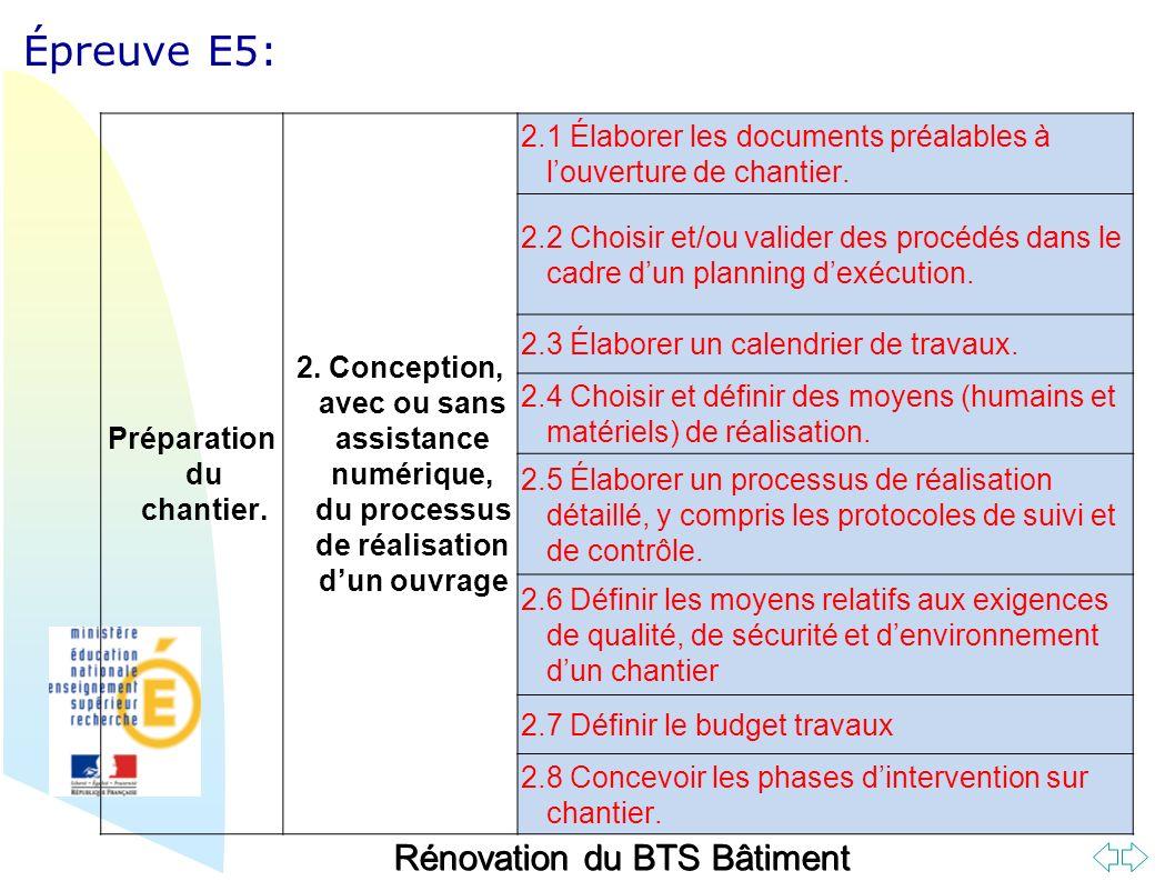 Retour au début Épreuve E5: Préparation du chantier.