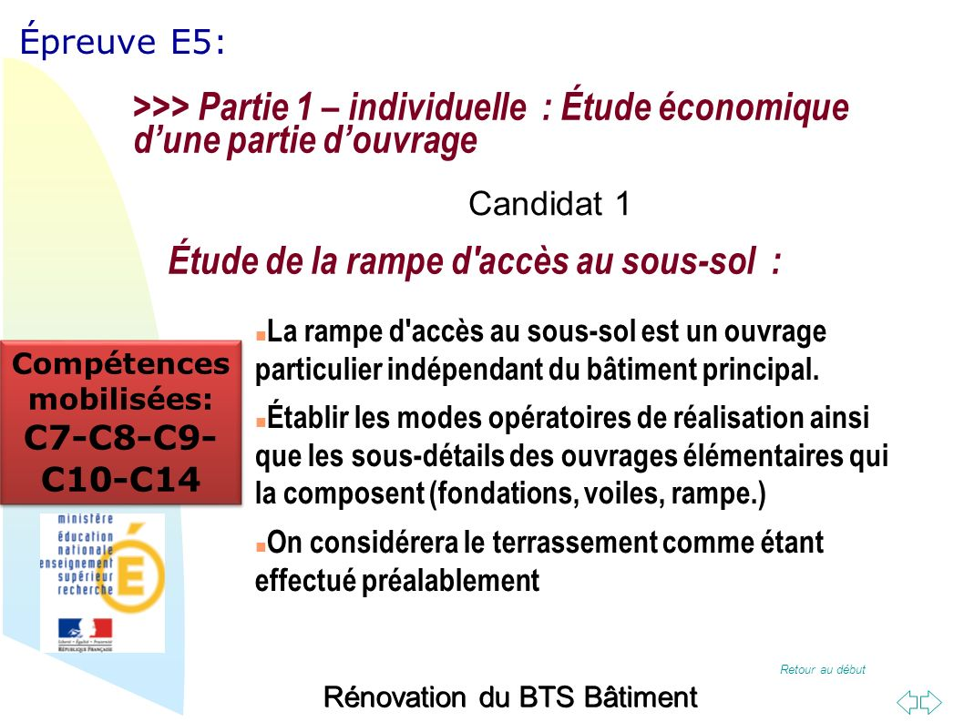 Retour au début Épreuve E5: Rénovation du BTS Bâtiment Étude des fondations de la cage A : >>> Partie 1 – individuelle : Étude économique dune partie douvrage Candidat 2