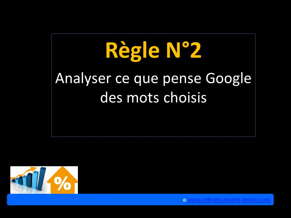 Règle N°2 Analyser ce que pense Google des mots choisis © www.referencement-immo.com www.referencement-immo.com © www.referencement-immo.com www.referencement-immo.com