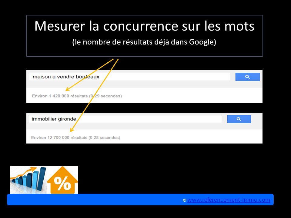 Mesurer la concurrence sur les mots (le nombre de résultats déjà dans Google) © www.referencement-immo.com www.referencement-immo.com © www.referencement-immo.com www.referencement-immo.com