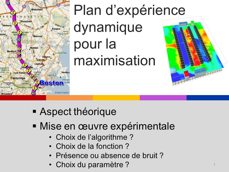 Plan dexpérience dynamique pour la maximisation Aspect théorique Mise en œuvre expérimentale Présence ou absence de bruit ? Choix du paramètre ? Choix