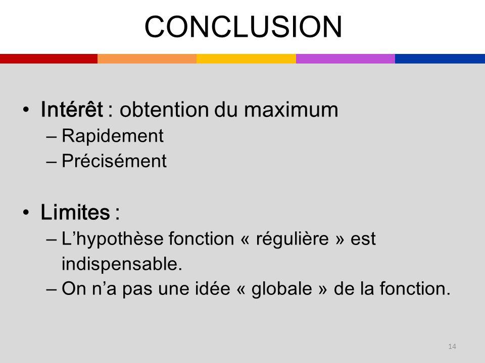 Intérêt : obtention du maximum –Rapidement –Précisément Limites : –Lhypothèse fonction « régulière » est indispensable. –On na pas une idée « globale