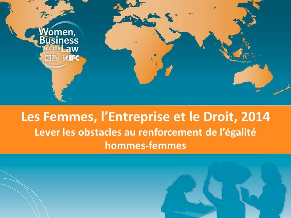 1 Les Femmes, lEntreprise et le Droit, 2014 Lever les obstacles au renforcement de légalité hommes-femmes