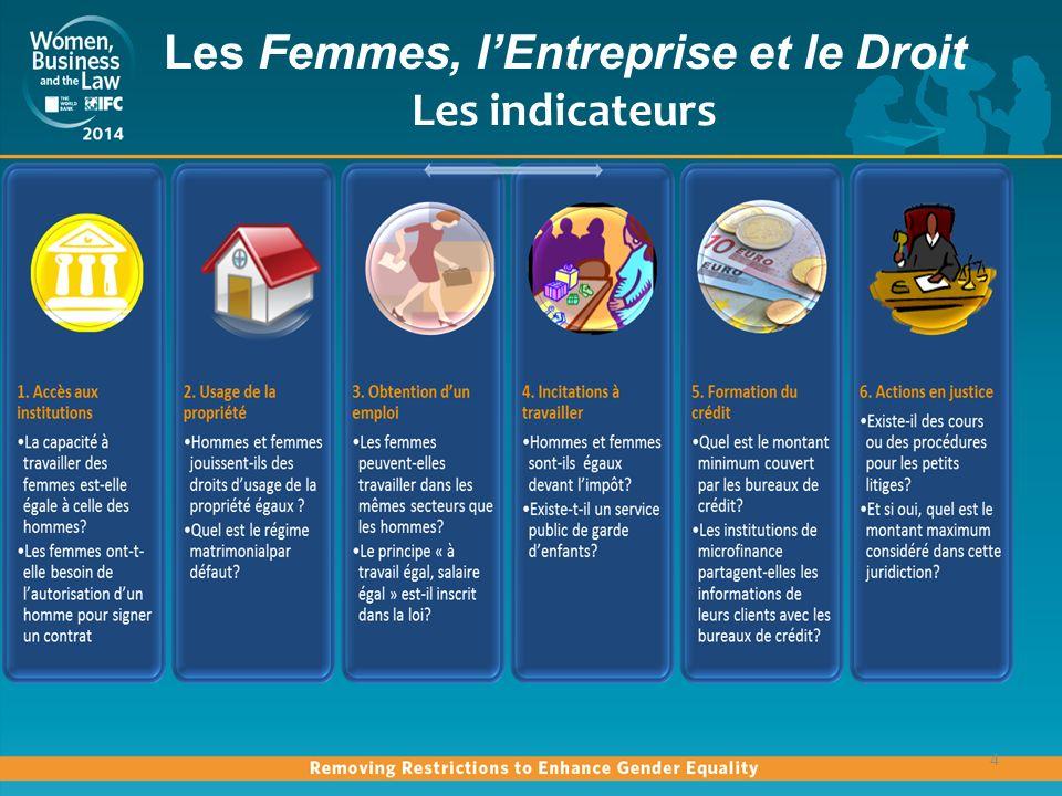 Les Femmes, lEntreprise et le Droit Les indicateurs 4