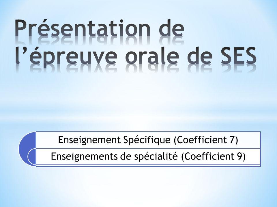 Enseignement Spécifique (Coefficient 7) Enseignements de spécialité (Coefficient 9)